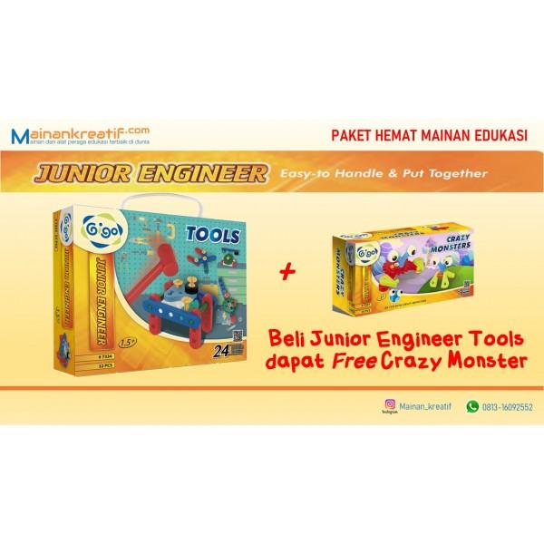 Paket Hemat Gigo Junior Engineer Tools + Crazy Monster